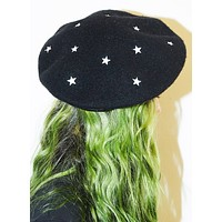 Cosmic Beret in Starry Black