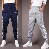 Striped Printed Drawstring Sweatpants