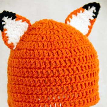 Fox Ears Hat, Orange Crochet Beanie, send size choice baby - adult