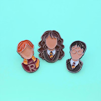Harry Potter Enamel Pins, Hermione Granger, Ron Weasley, Hogwarts Pin, Fantasy Pin Flair, Lapel Pin, Pin Badge, Stocking Stuffer