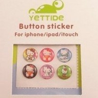 """Home"" Button Sticker for iphone/ipad/itouch,Hello Kitty Series4,Six Stickers"