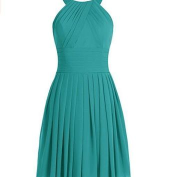 Women's Short Straps Chiffon Party Dresses Bridesmaid Gowns Open back Dress