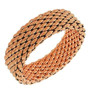 Stainless Steel Rose Gold-Tone Mesh Wide Stretch Womens Bangle Bracelet
