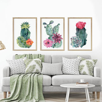 WATERCOLOR CACTUS Wall Art, Watercolor Boho Living Room Art Pictures, Floral Cactus Succulent Watercolor Artwork, Set of 3 Canvas or Print