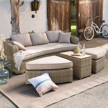 Belham Living Wingate All Weather Wicker Sofa Daybed Sectional Set - Conversation Pati