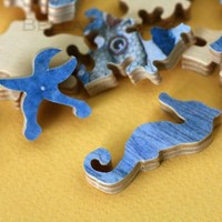 Jigsaw Puzzle, handcut, wood, wooden, personalized, custom, figurals, words, 8 x 10 inches, 140 pieces - SEA FAIRIES