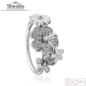2016 Spring Enamel Clear Cz Shimmering Bouquet Rings For Women 925-Sterling-Silver Flower Wedding Band Engagement Ring With Logo