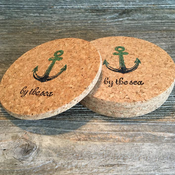 Anchor By the Sea Coasters, Absorbent Cork Coasters, Set of 4 Natural Coasters, Anchor Wedding Gift,  Nautical Coaster Favors - Item# 008