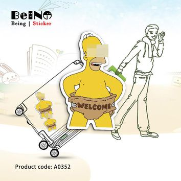 Cartoon Character Simpsons Sticker Welcome Waterproof Suitcase Laptop Guitar Luggage Skateboard Toy Lovely A0352 Stickers QY32