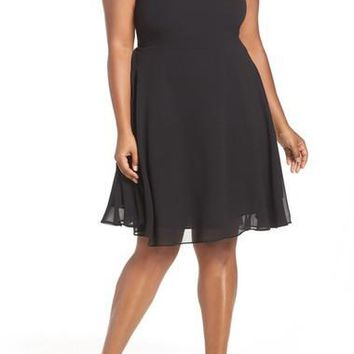 Poser Lace Detail Chiffon Overlay Fit & Flare Dress (Plus Size)