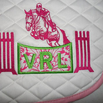 Custom Monogram Applique Jumping Horse Embroidered All-Purpose Saddle Pad