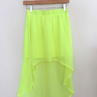 Women's Forever 21 New High Low Neon Yellow Skirt Size XS NWOT