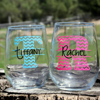 4 Personalized Monogram Stemless Wine Glasses. Great for bachelorette and wedding parties. Custom Wine glasses.