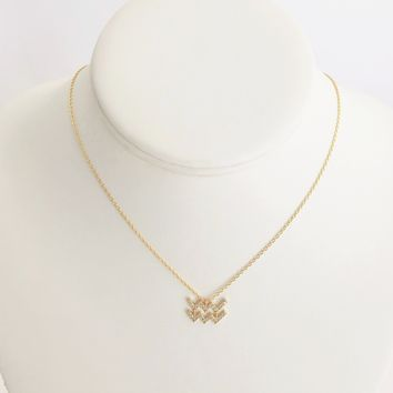 Aquarius Zodiac Necklace In Gold