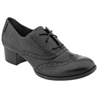 Born Naleigh Black Leather Bootie Wingtip Oxford Heel Shoes Shootie Size 8