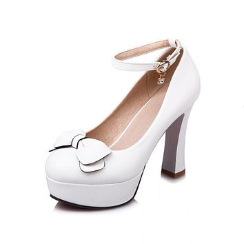 Women Ankle Strap Platform Pumps Bow High Heel Shoes 8820