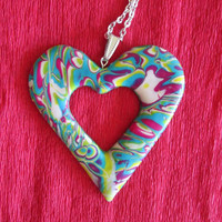 polymer clay heart pendant,affordable jewelry,gift for her,colorful necklace,multicolor necklace,polymer clay jewelry,hippie,boho necklace