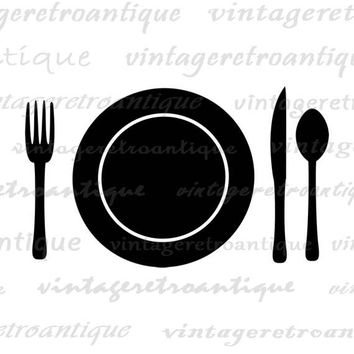 Printable Plate Setting Fork Knife Spoon Graphic Digital Download Food Image Vintage Kitchen Icon Clip Art Jpg Png Eps HQ 300dpi No.2059