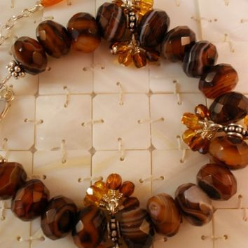 Brown Lace Agate, Austrian Crystal, and Bali Sterling Silver Bracelet, Semi Precious Gemstone Jewelry, Handcrafted