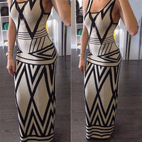 Women Geometric Print Summer Long Maxi Dress Fashion Casual Sleeveless Bodycon Sexy Evening Party Dress