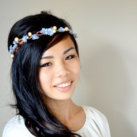 Light Blue and Peach Flower Crown Summer Vine by Floraesthetic