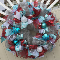 Frosty Blue red silver christmas wreath, deco mesh xmas wreath, red teal holiday wreath, xmas wreath, snowflake wreath
