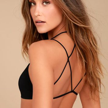 Free People Black High Neck Strappy Back Bralette