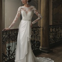David Tutera 213258 Zara Wedding Dress - Vintage Wedding Dress with beaded lace bodice and illusion long sleeves