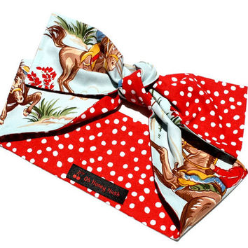 Vintage Inspired Head Scarf, Cowboys, Country Western, Red Polka Dot, Rockabilly, Retro