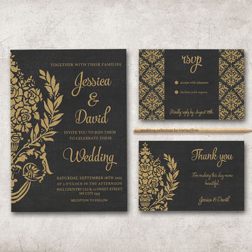 Gold & Black Wedding Invitation Printable, Wedding Stationery Set, Digital file - Damask Wedding Invite, Art Deco Wedding