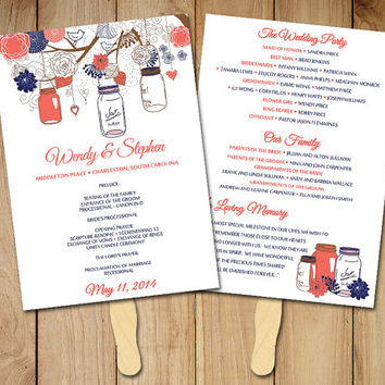 "DIY Wedding Program Fan Template Rustic Ceremony Program ""Mason Jar"" Dark Coral Navy Blue - Instant Download Printable Wedding Program Favor"