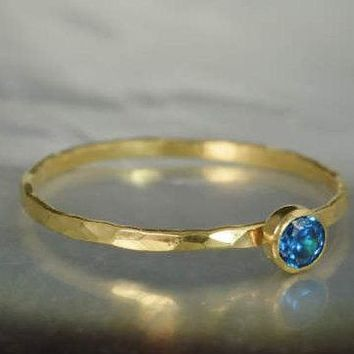 Dainty Solid 14k Gold Blue Zircon Ring