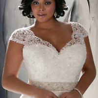 Cap Sleeves Ivory Plus Size Bridal Wedding Dress with Beads Sequins