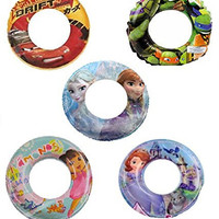 Set of 5 Ninja Turtles Frozen Lightning McQueen Sofia Disney Nickelodeon Pool Toys Inflatable Swim Ring Tube Toy for Kids Boys Girls SET OF 5 RINGS with HAPPY Slapstick