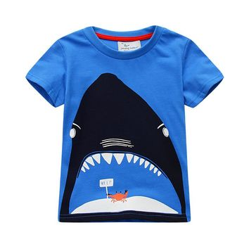 2017 new summer baby boy clothes short sleeve O-neck t shirt 100% Cotton cartoon Shark printing brand tee tops toddler tshirt