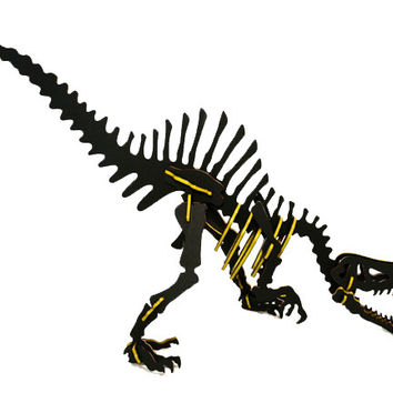 """[GIANT] 3D Dinosaur Puzzle - Spinosaurus (72"""" L x 36"""" H) - 1/2"""" Recycled HDPE - 8 Two-Tone Color Combinations"""