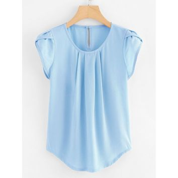 Petal Sleeve Pleated Detail Curved Hem Blouse Blue