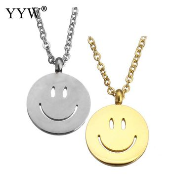 YYW New Designs Funny Lovely Mom Baby Gifts Gold-color Stainless Steel Jewelry Smiling Face Pendant Charm Choker Chain Necklaces