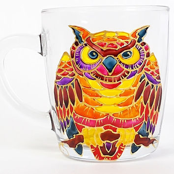 Owl Coffee Mug. Tea glass cup 11 1/4 oz. Hand Painted Colorful Mug- Orange, Red, Yellow. Birthday gift. Home decor.