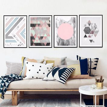 Abstract  Marble Canvas Painting Geometric Wall Art Pictures Nordic Pop Poster Print for Office Living Room Home Decor Unframed