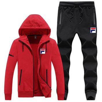 FILA autumn and winter new sports men's casual fashion running clothes two-piece red