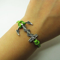 Adjustable Vintage Silver Bacelet  Green Anchor  Bracelet  With  Ropes Cuff  Bracelet  Vintage bracelet  Jewelry Bangle 906S