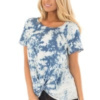 Navy and White Cloud Tie Dye Top with Front Twist Detail