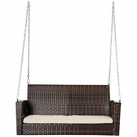 Brown Resin Wicker 2-Person Porch Swing Loveseat with Tan Cushion