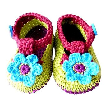 Crochet Spring Flower Baby Shoes