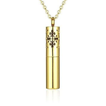New Awlins Gold Cylindrical Essential Oil Diffuser Necklace
