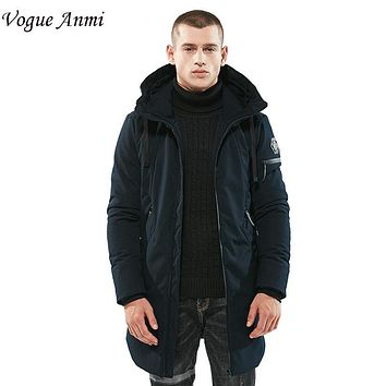 Vogue Anmi 2017 New arrival autumn winter jacket men brand clothing thick long coat male quality fashion parkas men size M-3XL