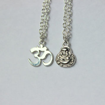 BFF Buddhist Necklaces, Buddha Necklace, Om Necklace, BFF Necklace Set, Best Friend Necklace, Boho Chic, Long and Layered, Zen Jewelry