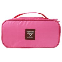 Pink Travel Underwear Bra and Garment Soft Box Organizer with Removable Zipper Pouch, Handle and Bonus Drawstring Bag