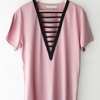 Deep V-neck Tshirt Dress